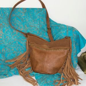 STEVE MADDEN Suede Leather Fringed Purse Crossbody